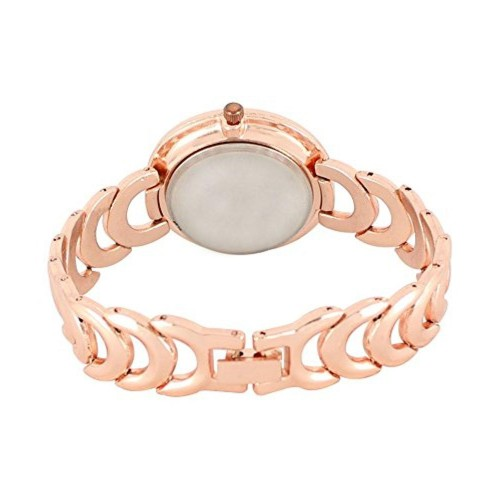 Om Sai Enterprise Rose Gold Diamond Studded Metal Bracelet Analog Watch For Girls & Women