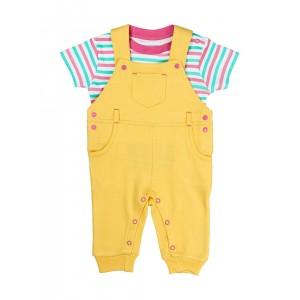 Beebay Girls Yellow & White Striped Clothing Set