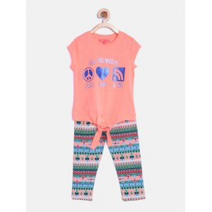 Nauti Nati Girls Multicoloured Printed Clothing Set