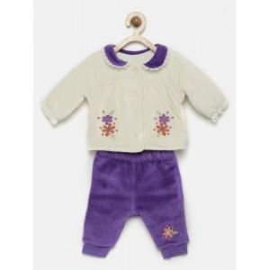 FS Mini Klub Girls Off-White & Purple Clothing Set