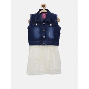 Peppermint Girls Blue & White Clothing Set
