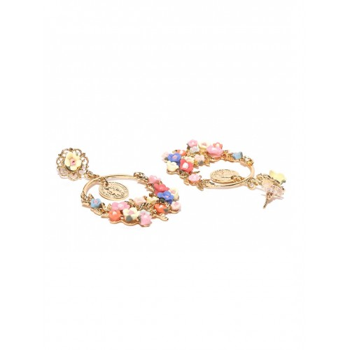 YouBella Multicoloured Gold-Plated Floral Drop Earrings