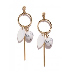 OOMPH Gold-Toned & Off-White Stone Drop Earrings