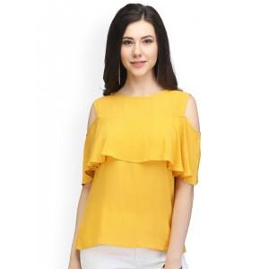 faf7ec696f403e Veni Vidi Vici Navy Blue Crop Top. ₹645 4 Stores. Eavan Women Mustard  Yellow Solid Top with Frill Detail