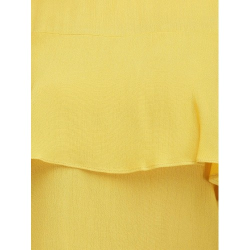Eavan Women Mustard Yellow Solid Top with Frill Detail