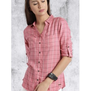 Roadster Women Pink Regular Fit Checked Casual Shirt
