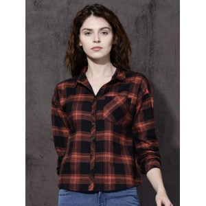 Roadster Women Orange & Black Regular Fit Checked Casual Shirt