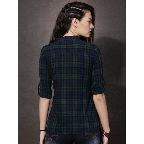 Roadster Women Green & Navy Regular Fit Checked Casual Shirt