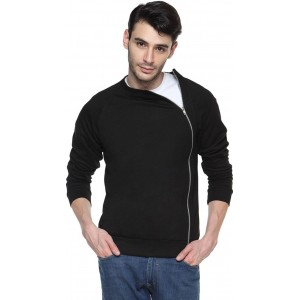 Campus Sutra Black Solid Cotton Jacket