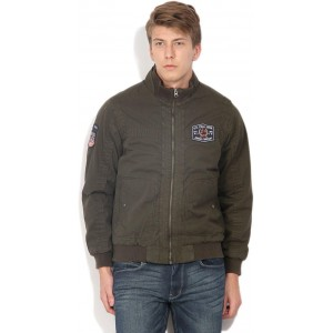 U.S. Polo Assn Full Sleeve Olive Solid Men's Jacket