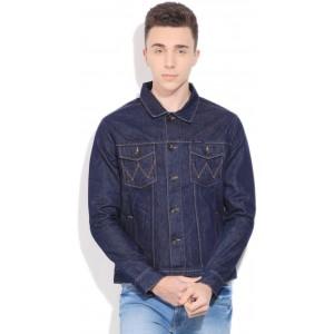 Wrangler Men's Navy Blue Solid Denim Jacket