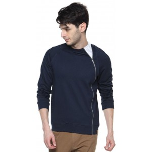 Campus Sutra Full Sleeve Navy Blue Solid Cotton Jacket