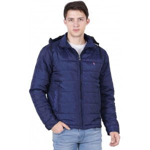 Forest Club Navy Blue Solid Polyester Sweat Jacket
