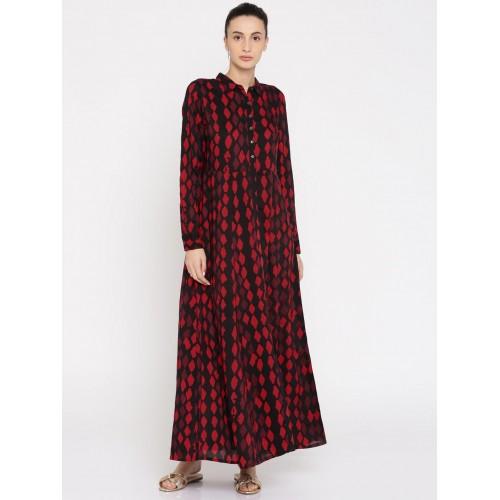 Buy Global Desi Women Red Black Printed Maxi Dress Online