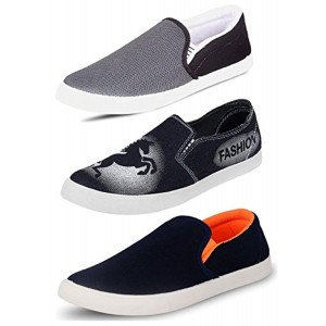 Tempo Men's Combo Pack of 3 Multicolor Loafers & Moccasins