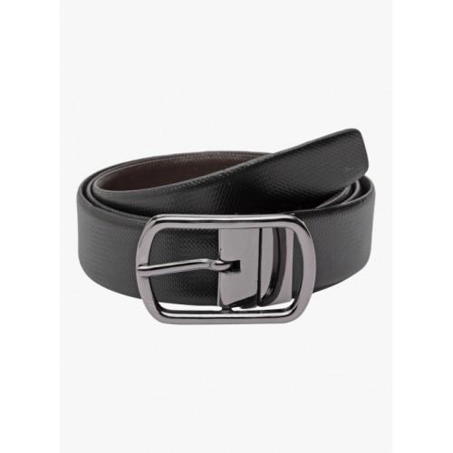 Teakwood Leathers Men Black & Brown Solid Reversible Belt