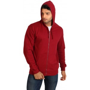 Campus Sutra Red Solid Cotton Hooded Sweat Jacket