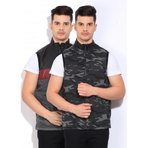 Pepe Jeans Sleeveless Black Printed Men's Jackets