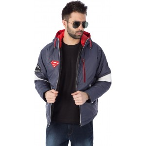 Rodid Navy Blue Solid Polyester Hooded Jacket