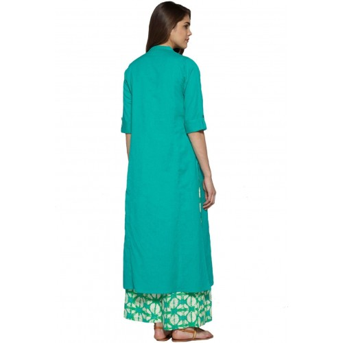 Pistaa Sea Green Solid Cotton Straight Pocket Kurti
