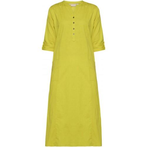Pistaa Lime Solid Cotton Straight Pocket Kurti