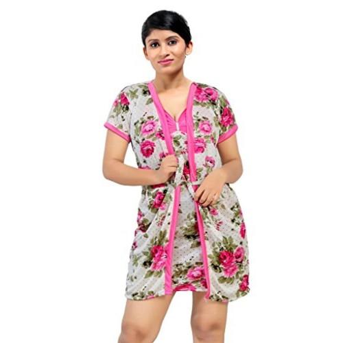 6b0054b355 Buy Fabme Women s Four Piece Nighty ( Short Robe