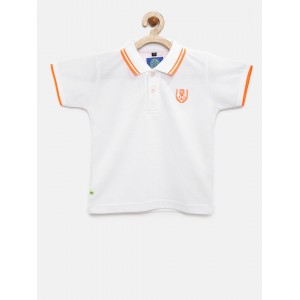 RUFF Boys White Solid Polo Collar T-shirt