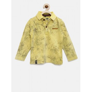 RUFF Boys Yellow Printed Polo T-shirt