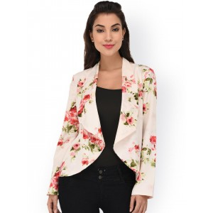 dc32457a2 ... Denim Jackets   Shrugs from Purys (15 items). PURYS Women Off-White  Floral Print Front-Open Blazer
