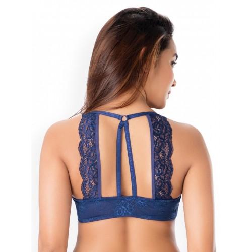 PrettySecrets Navy Lace Underwired Lightly -added Bralette Bra