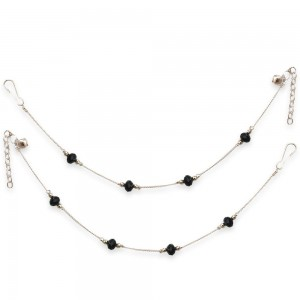 Sparkling Black & Silver Casual Non Plated Alloy Everyday Wear Anklets