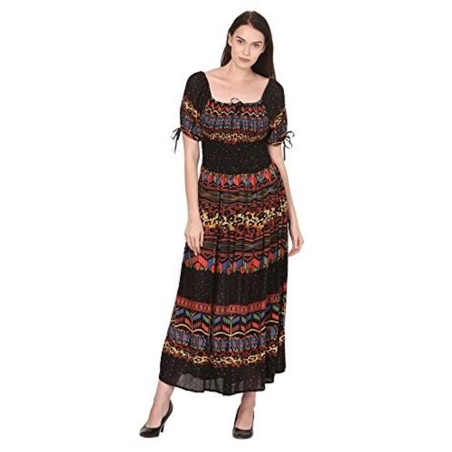 98c4611b62 ... Saadgi Rajasthani Digital Print Maxi Dress for Women - Pure Rayon & Full  smoky elasticity Chest ...