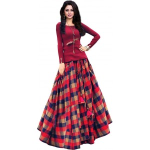 Ross Red Silk Wool Printed Unstitched Lehanga Choli