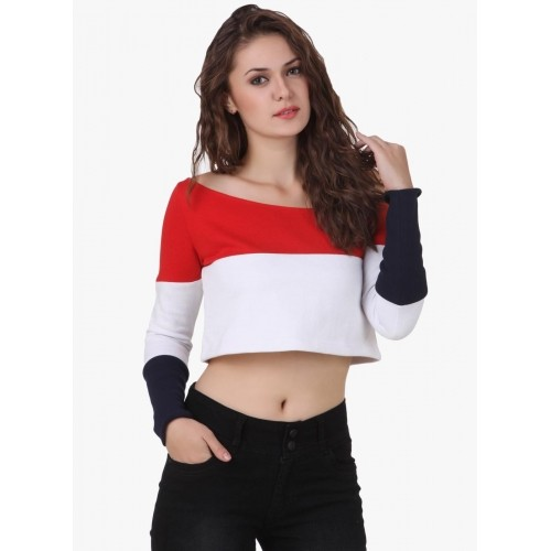 19c53fb3eb991 Buy Texco Red White Big Stripe Crop Top online