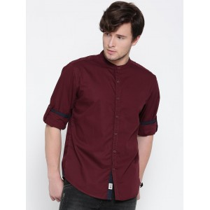 Roadster Maroon Cotton Solid Casual Shirt