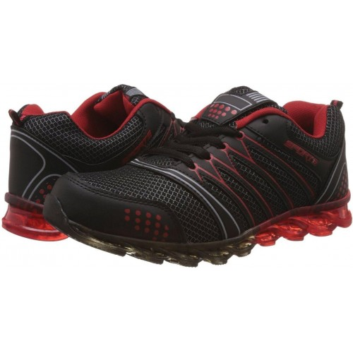 Shoe Island Black & Red Lace Up Running Shoes