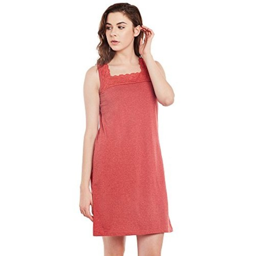 Claura Red Milanch Cotton Short Nighty Or Nightdress