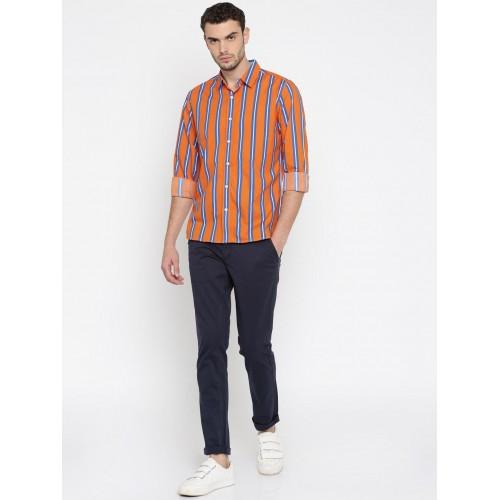 People Men Orange & Blue Striped Casual Shirt