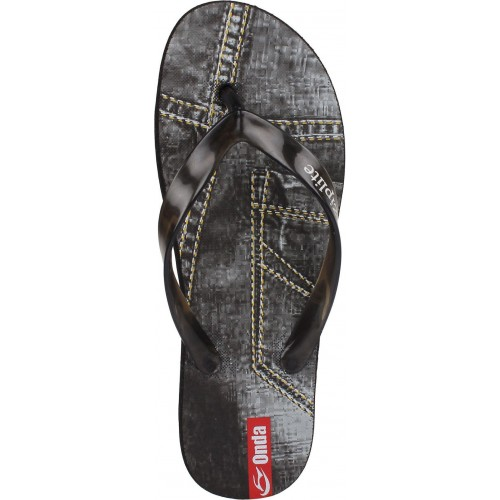 Earton Black Printed Flip Flops For Men