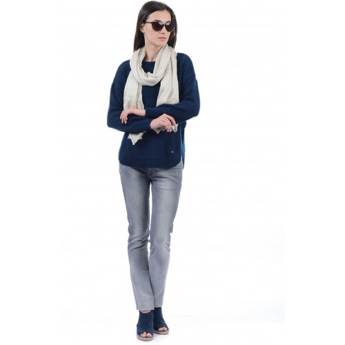 fd3089d207c Buy Pepe Jeans Woven Round Neck Casual Women Dark Blue Sweater ...
