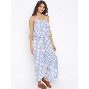 Vero Moda Blue & White Printed Jumpsuit