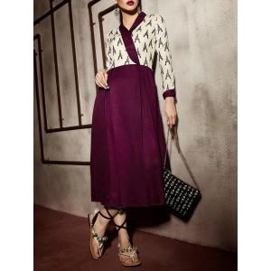 Eternal purple pashmina printed pleated dress