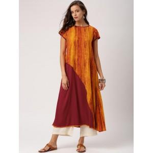 IndusDiva Infusions Orange & Maroon Printed A-Line Kurta