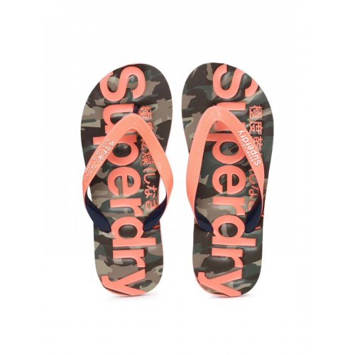 997decbba911 ... Superdry Women Coral Pink   Olive Green Printed CLASSIC CAMO Flip-Flops  ...