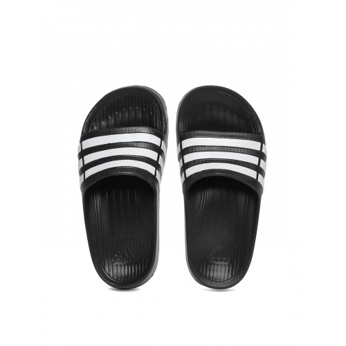 info for cef02 3d8e2 ... Adidas Boys Black  White Duramo Slide K Striped Flip-Flops ...