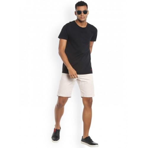 Jack & Jones Men Off-White Solid Regular Fit Shorts