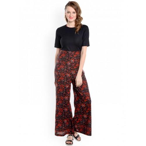 5a012ed1fae Buy Desi Weaves Black   Red Floral Print Jumpsuit online