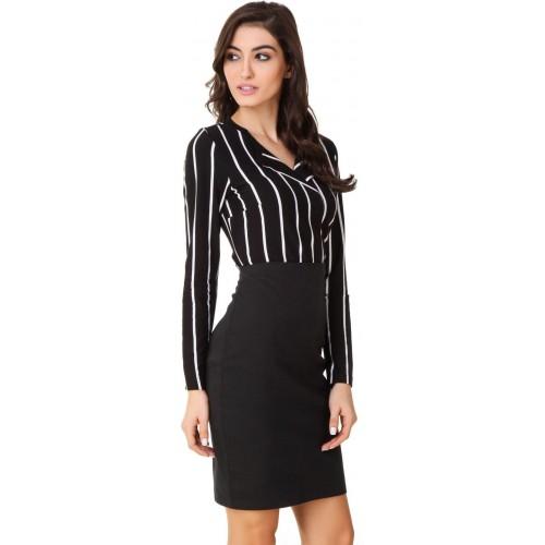 824a0cda51f72 Buy Texco Women s Striped Casual Black