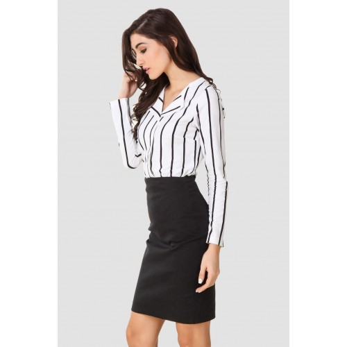 Texco Women's Striped Casual Black, White Shirt