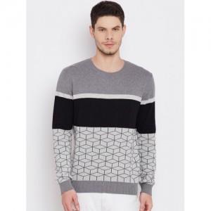 United Colors of Benetton Men Grey Melange Patterned Sweater